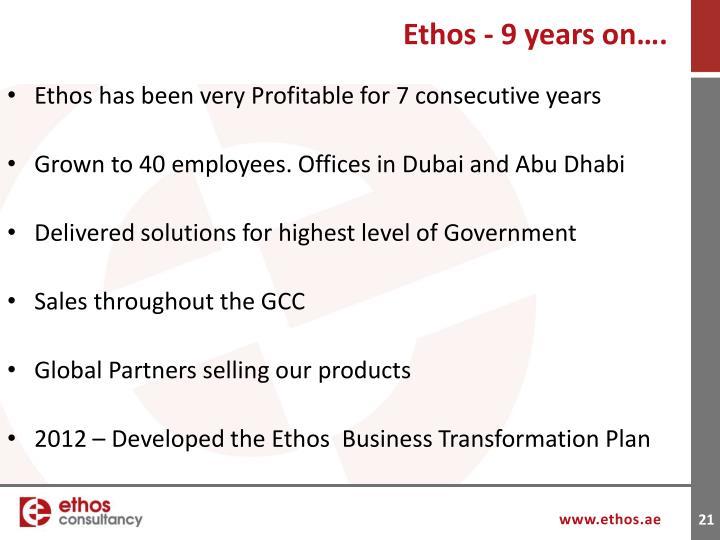 Ethos - 9 years on….