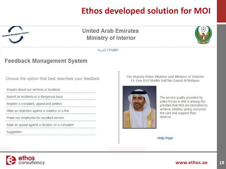 Ethos developed solution for MOI