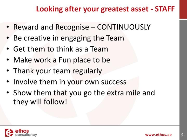 Looking after your greatest asset - STAFF