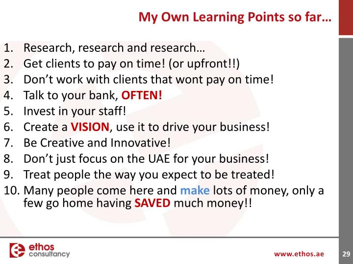 My Own Learning Points so far…