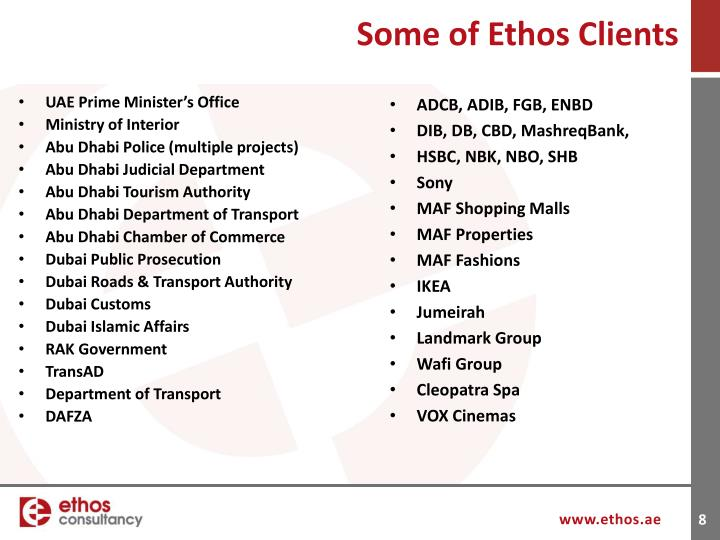 Some of Ethos Clients