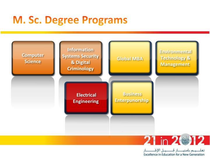 M. Sc. Degree Programs