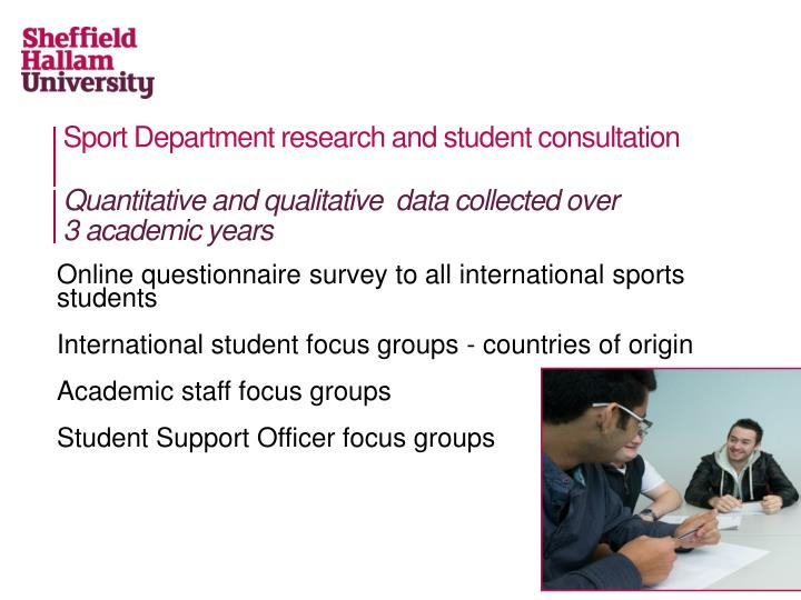 Sport Department research and student consultation