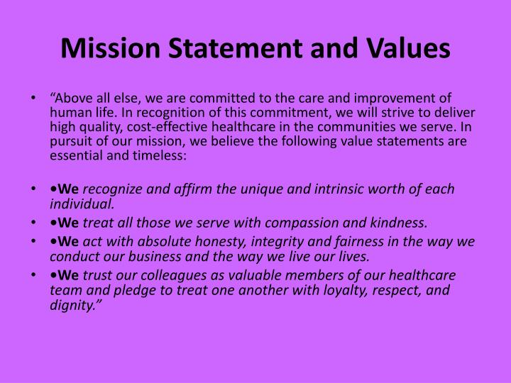 Mission Statement and Values