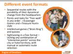 different event formats