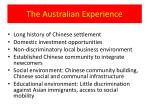 the australian experience