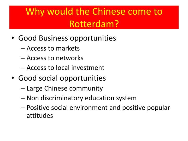 Why would the Chinese come to Rotterdam?