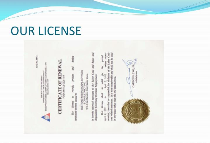 OUR LICENSE