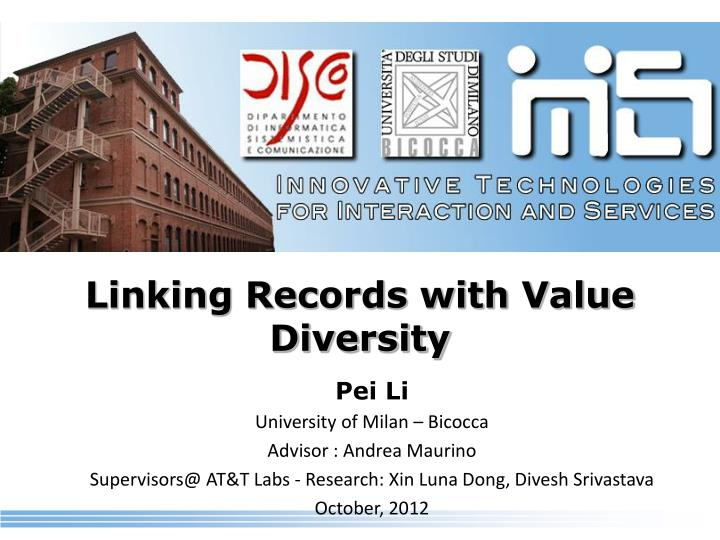linking records with value diversity
