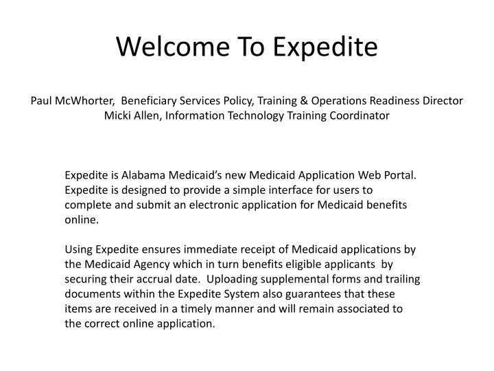 Welcome To Expedite