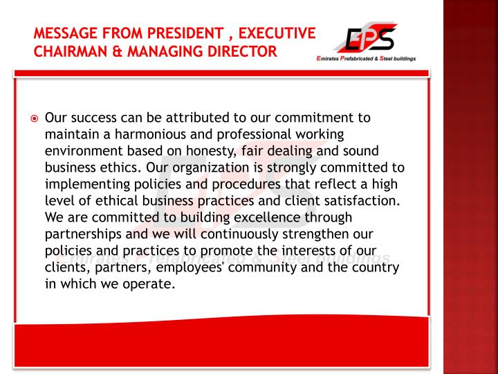 Message from President , Executive Chairman & Managing director