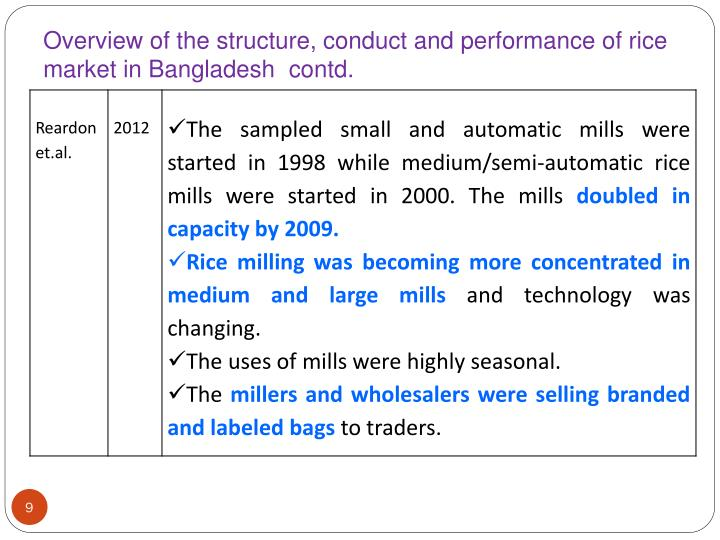 Overview of the structure, conduct and performance of rice market in Bangladesh  contd.