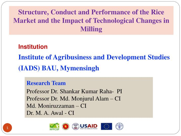 Structure, Conduct and Performance of the Rice Market and the Impact of Technological Changes in Mil...