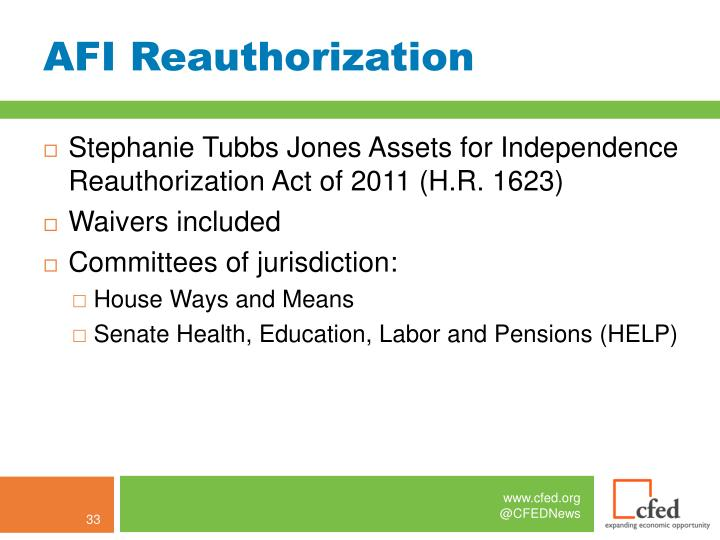 AFI Reauthorization