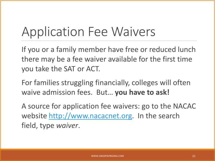 Application Fee Waivers