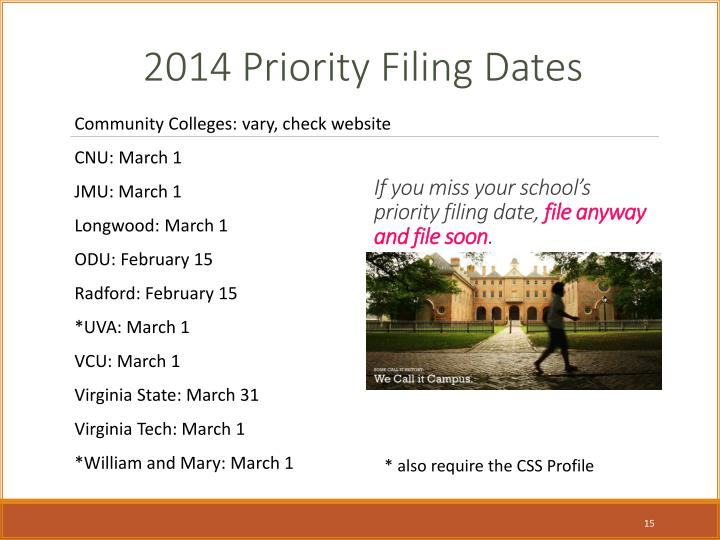 If you miss your school's priority filing date,