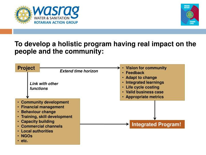 To develop a holistic program having real impact on the people and the community: