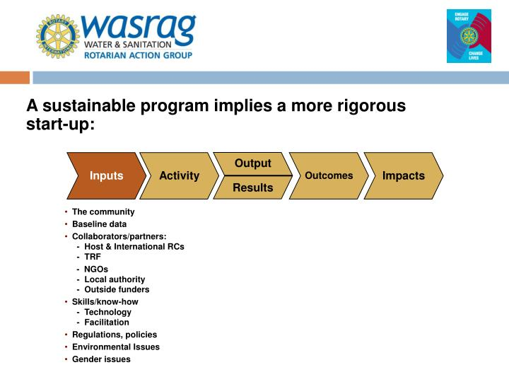 A sustainable program implies a more rigorous start-up:
