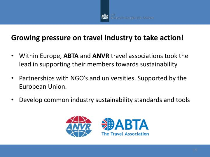 Growing pressure on travel industry to take action!