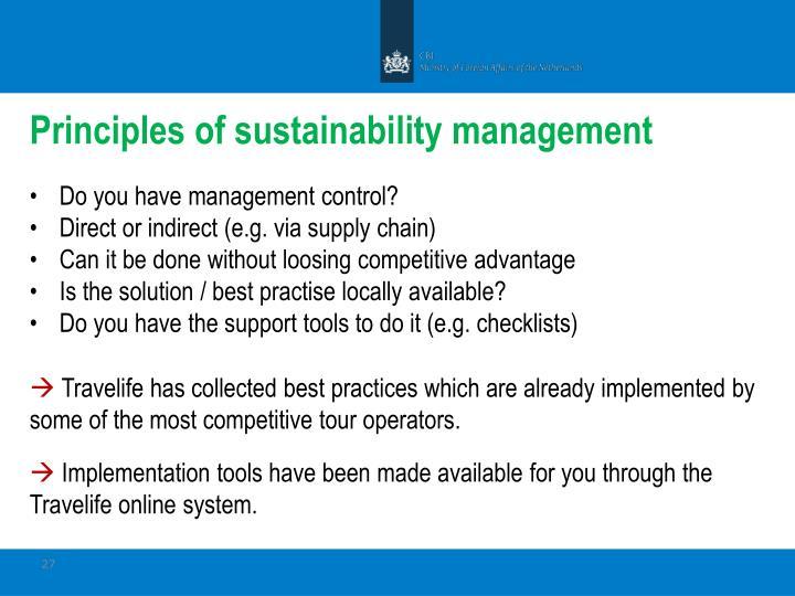 Principles of sustainability management