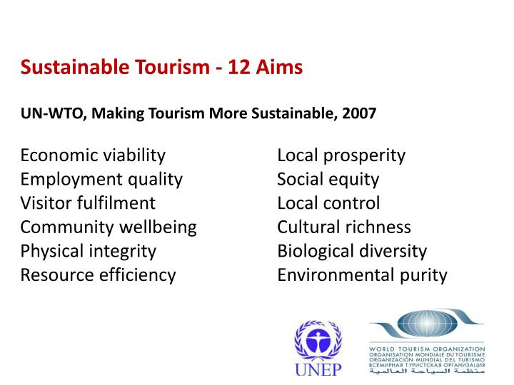 Sustainable Tourism - 12 Aims