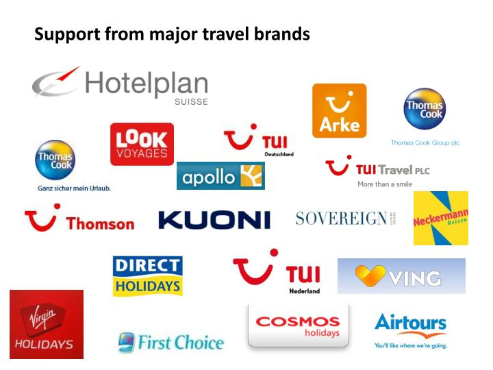 Support from major travel brands