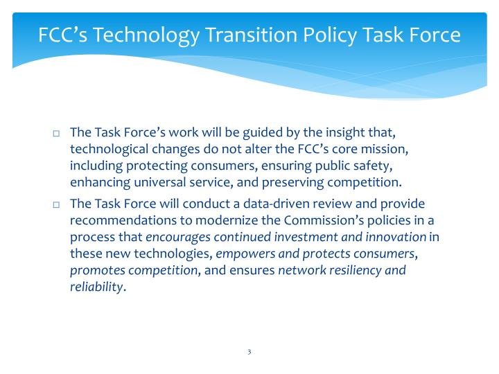 Fcc s technology transition policy task force