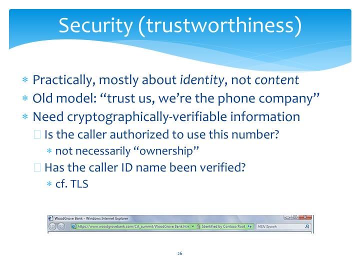 Security (trustworthiness)