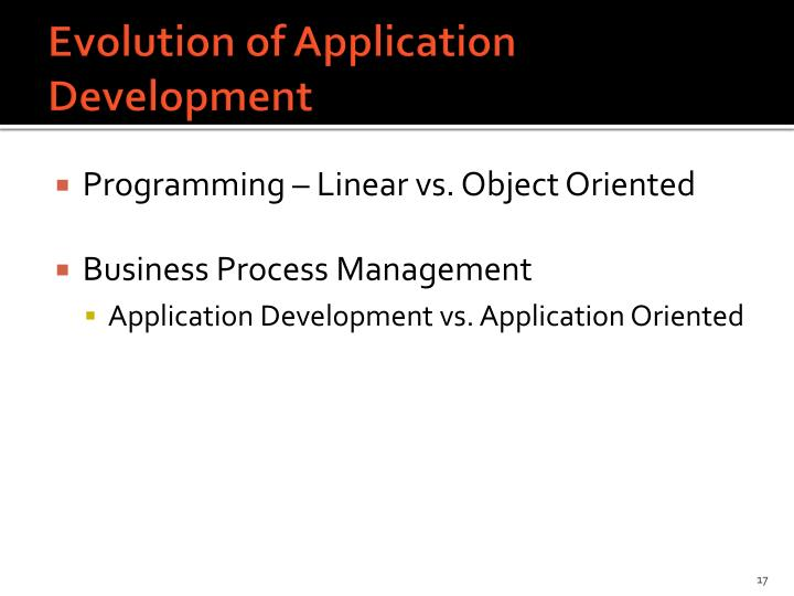 Evolution of Application Development