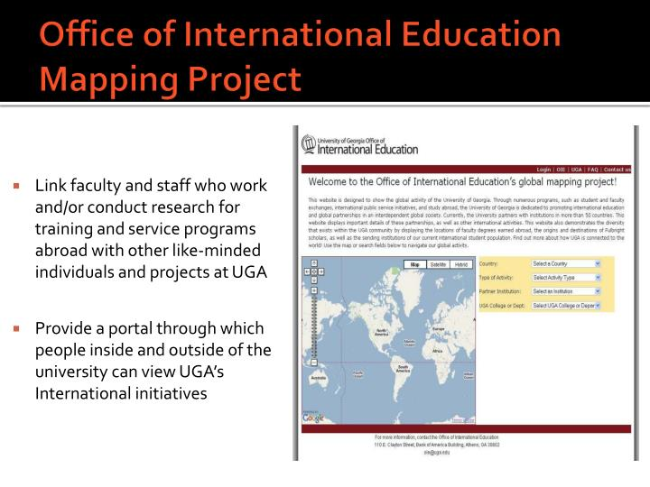 Office of International Education Mapping Project
