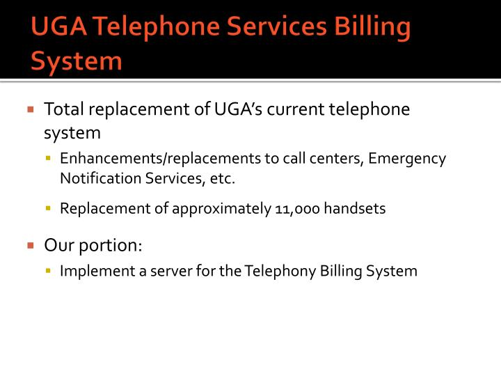 UGA Telephone Services Billing System
