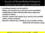 analysis of mixed methods research combining data types for synthesis