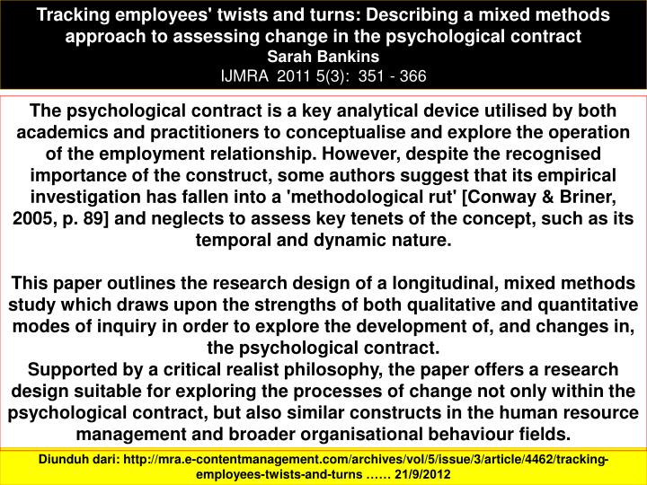 Tracking employees' twists and turns: Describing a mixed methods approach to assessing change in the psychological contract