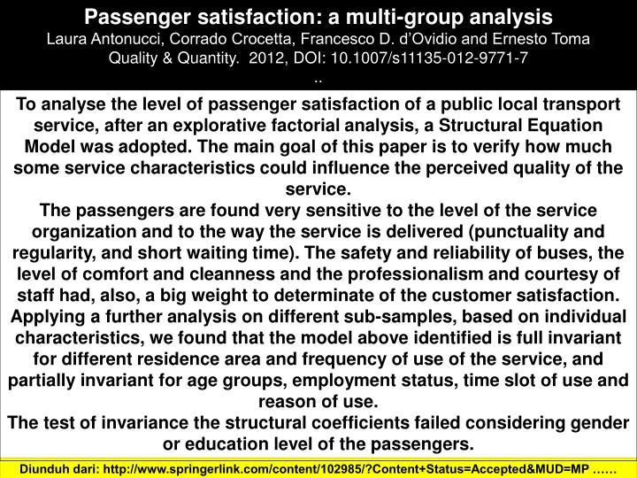 Passenger satisfaction: a multi-group analysis