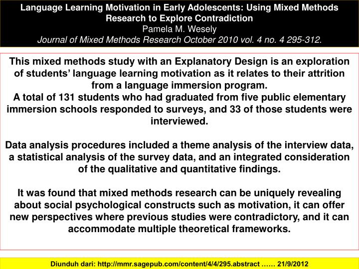 Language Learning Motivation in Early Adolescents: Using Mixed Methods Research to Explore Contradiction
