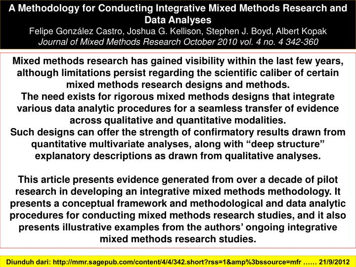 A Methodology for Conducting Integrative Mixed Methods Research and Data Analyses