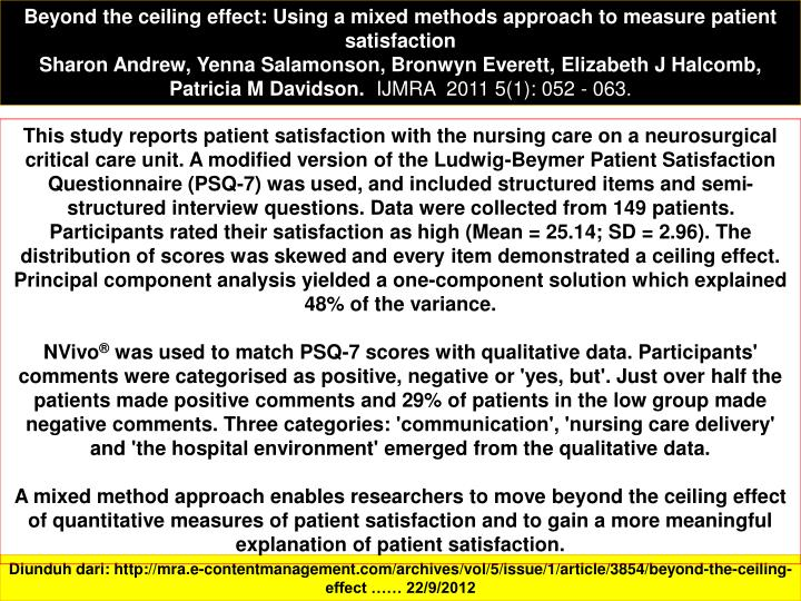 Beyond the ceiling effect: Using a mixed methods approach to measure patient satisfaction