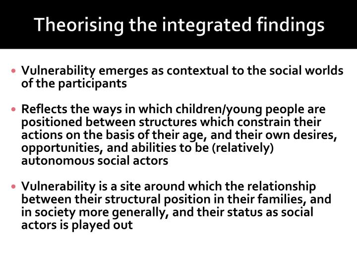 Theorising the integrated findings