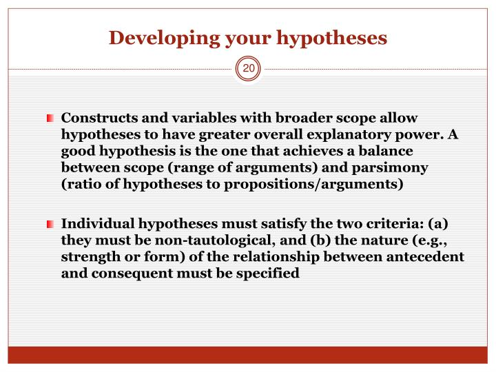 Developing your hypotheses
