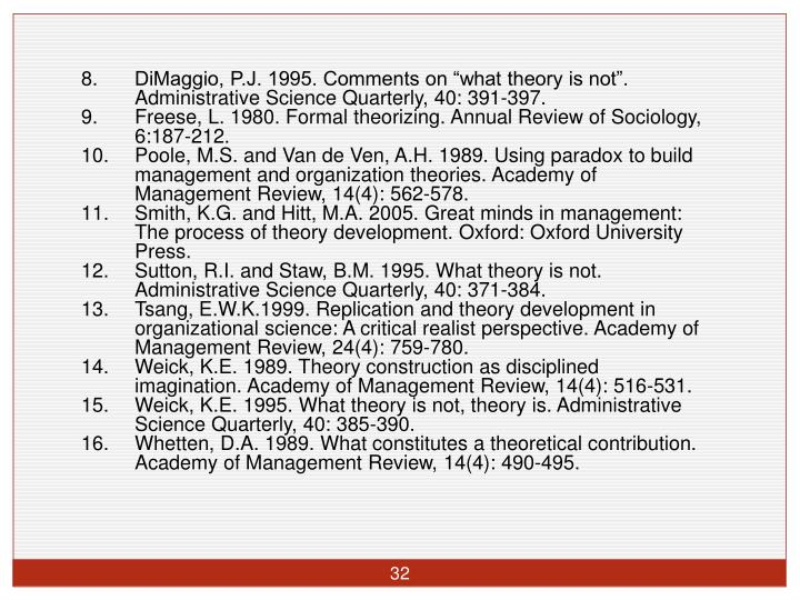 "DiMaggio, P.J. 1995. Comments on ""what theory is not"". Administrative Science Quarterly, 40: 391-397."