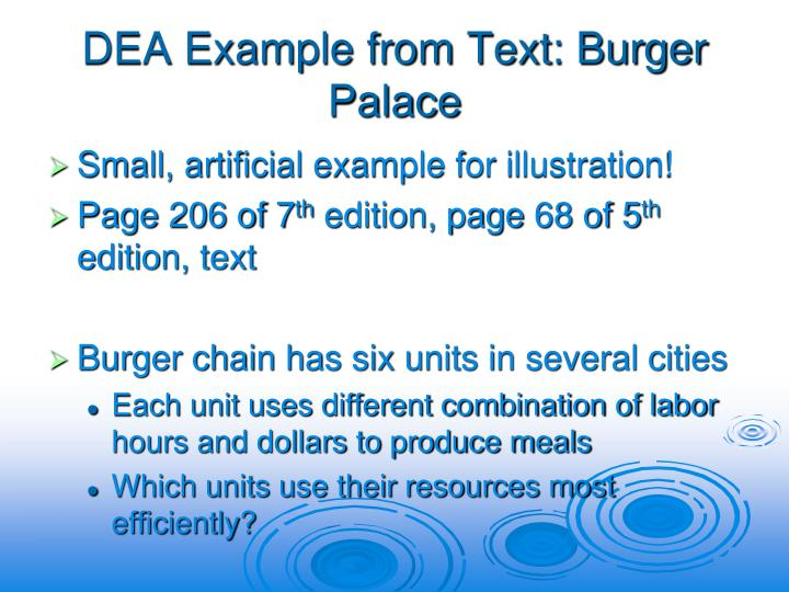 DEA Example from Text: Burger Palace
