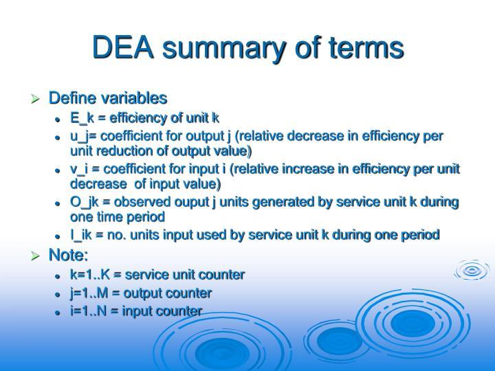 DEA summary of terms