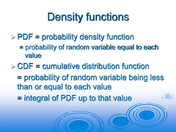 Density functions
