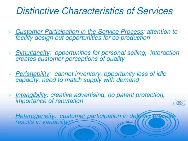 Distinctive Characteristics of Services