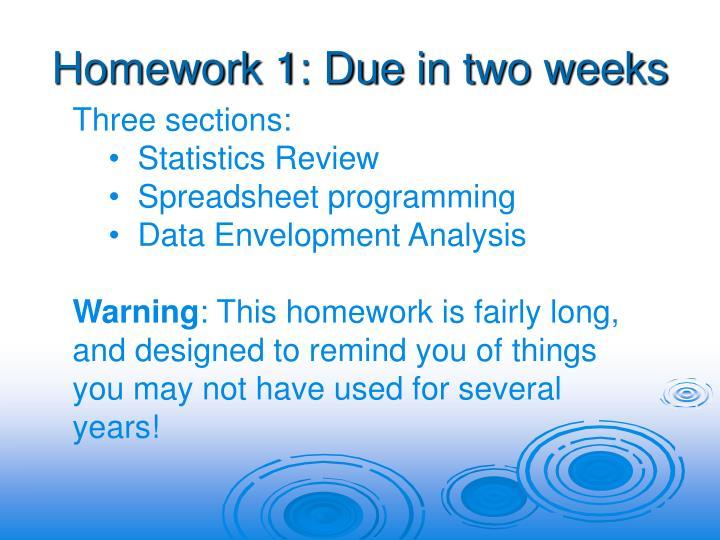 Homework 1: Due