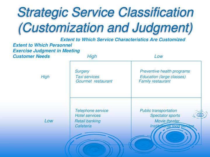 Strategic Service Classification (Customization and Judgment)