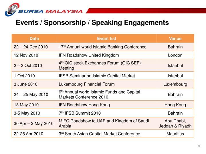 Events / Sponsorship / Speaking Engagements