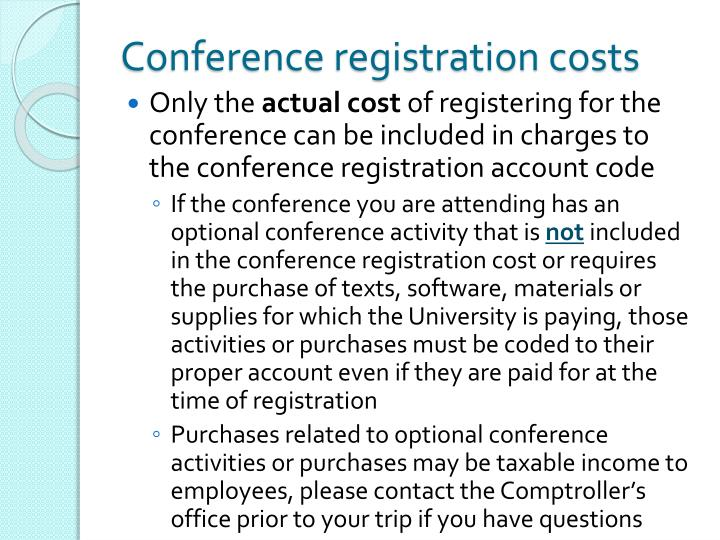 Conference registration costs