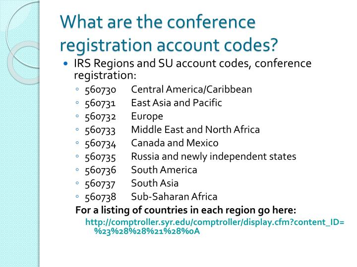 What are the conference registration account codes?
