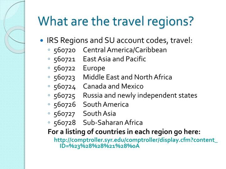 What are the travel regions?